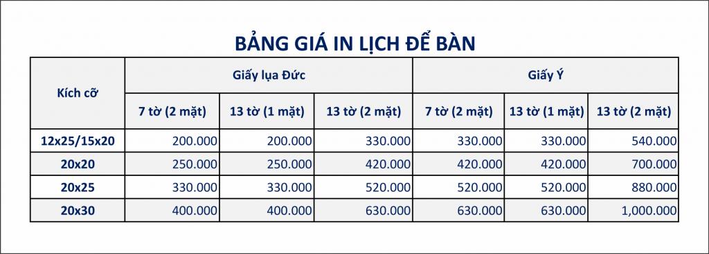 Bảng giá in lịch để bàn 2018